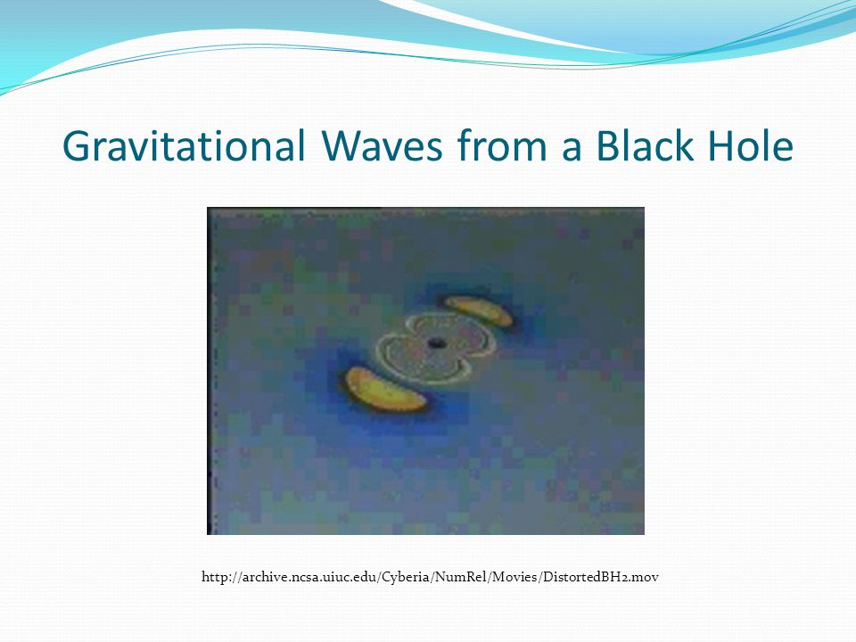 Gravitational Waves from a Black Hole http://archive.ncsa.uiuc.edu/Cyberia/NumRel/Movies/DistortedBH2.mov