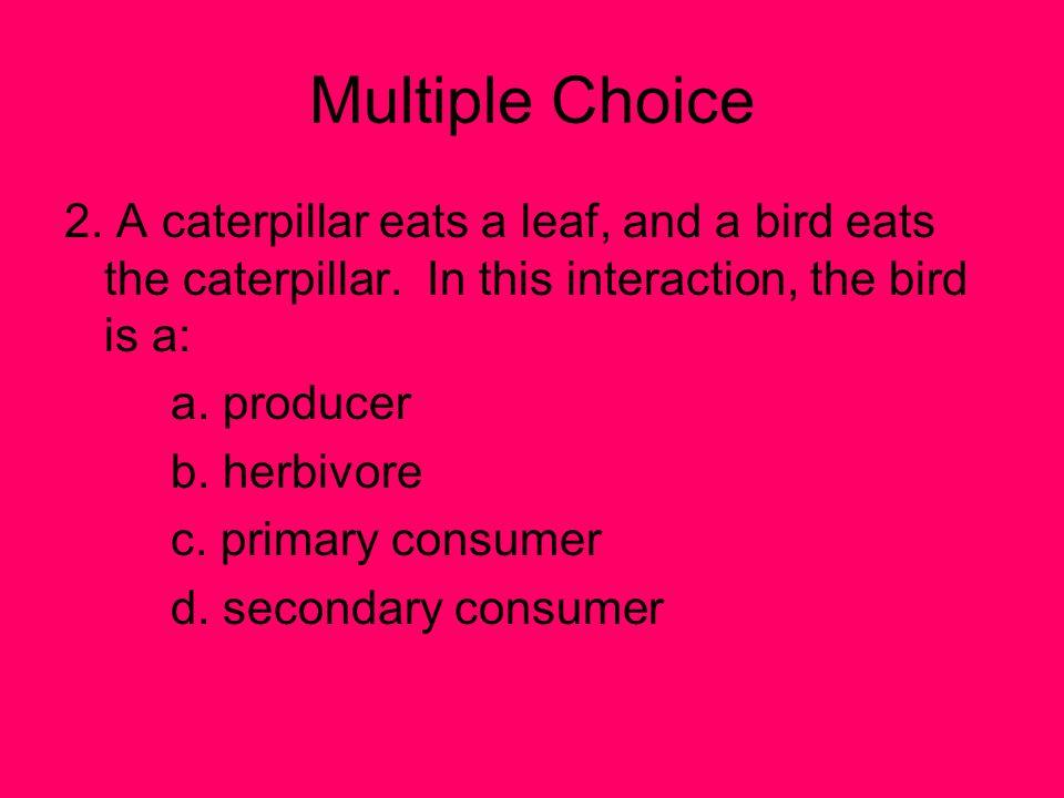 Multiple Choice 2.A caterpillar eats a leaf, and a bird eats the caterpillar.