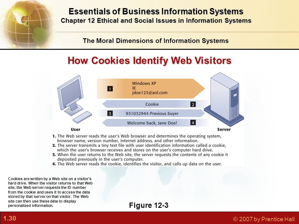 1.30 © 2007 by Prentice Hall Figure 12-3 Cookies are written by a Web site on a visitor's hard drive.