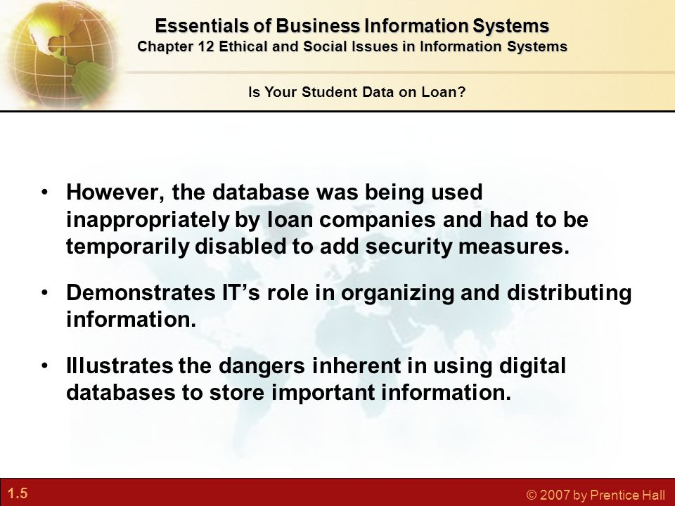 1.5 © 2007 by Prentice Hall Is Your Student Data on Loan? However, the database was being used inappropriately by loan companies and had to be tempora