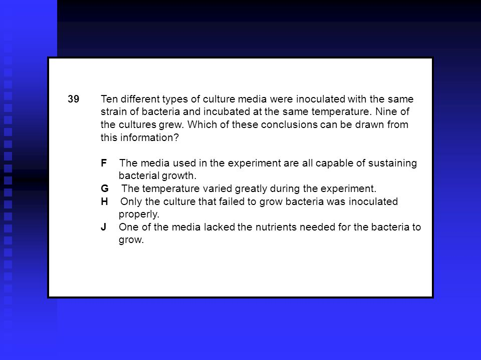 39Ten different types of culture media were inoculated with the same strain of bacteria and incubated at the same temperature.