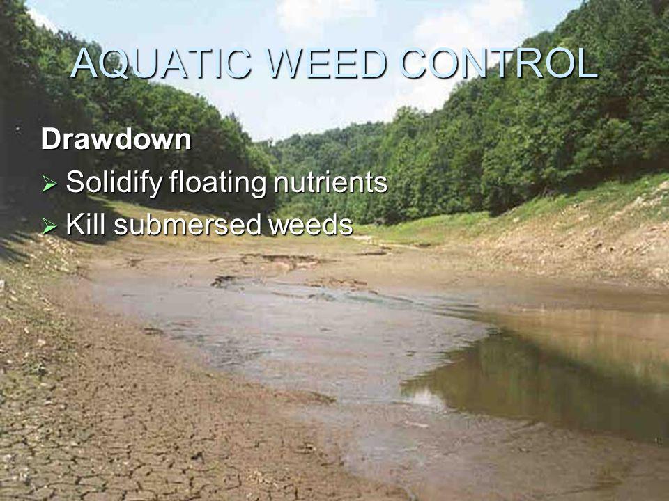 AQUATIC WEED CONTROL Drawdown  Solidify floating nutrients  Kill submersed weeds