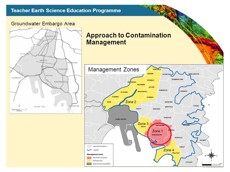 Teacher Earth Science Education Programme Groundwater Embargo Area Management Zones Approach to Contamination Management