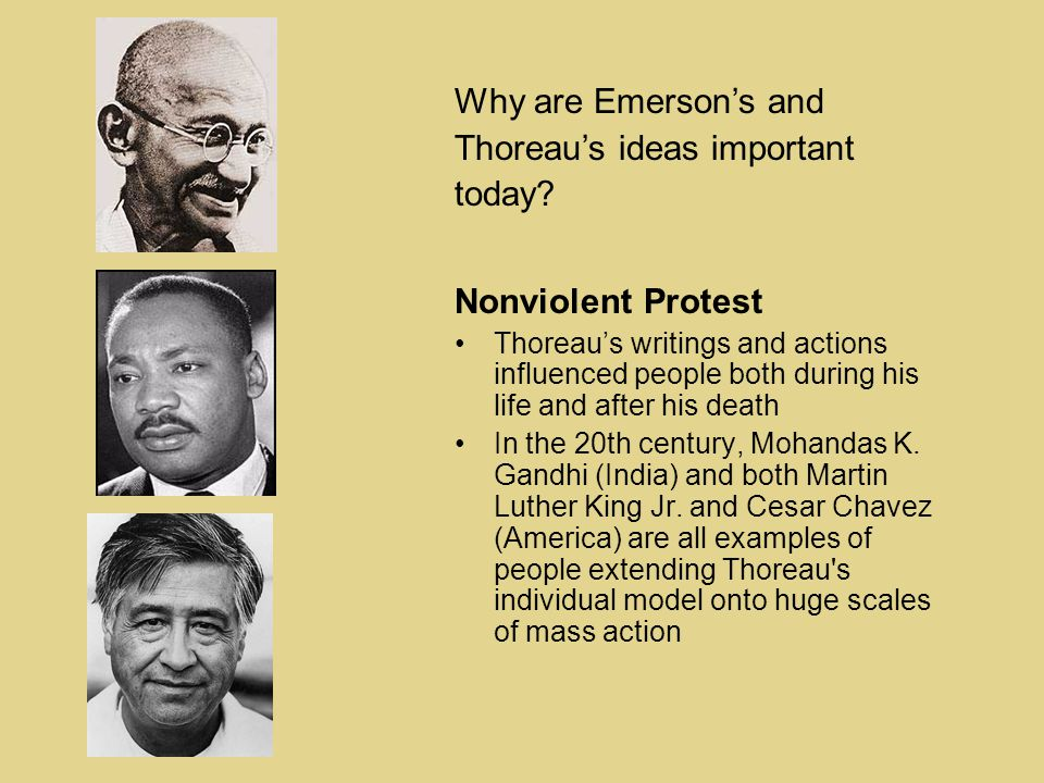 Nonviolent Protest Thoreau's writings and actions influenced people both during his life and after his death In the 20th century, Mohandas K.