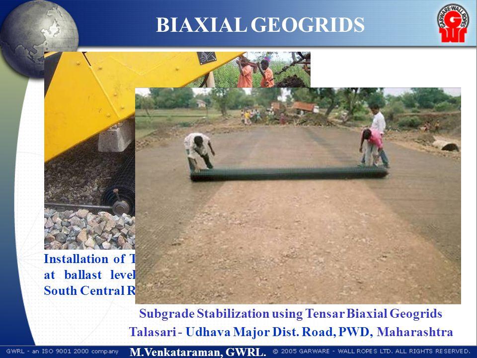 M.Venkataraman, GWRL. Installation of Tensar SSLA30 Biaxial Geogrid at ballast level (Kazipet-Ballarshah section,, South Central Railway) Subgrade Sta