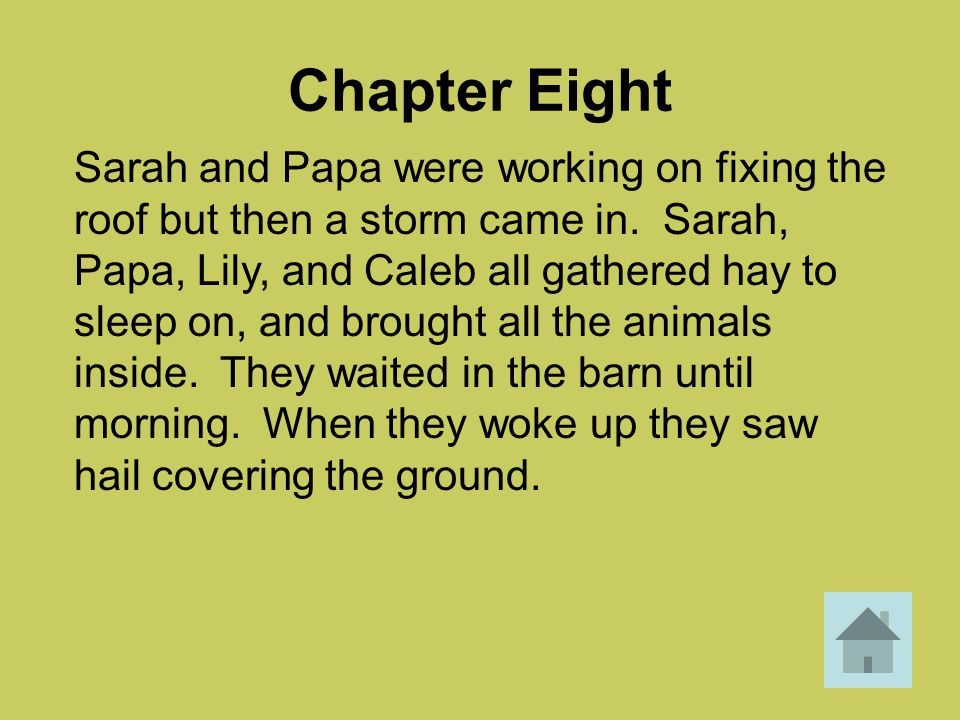 Chapter Eight Sarah and Papa were working on fixing the roof but then a storm came in. Sarah, Papa, Lily, and Caleb all gathered hay to sleep on, and