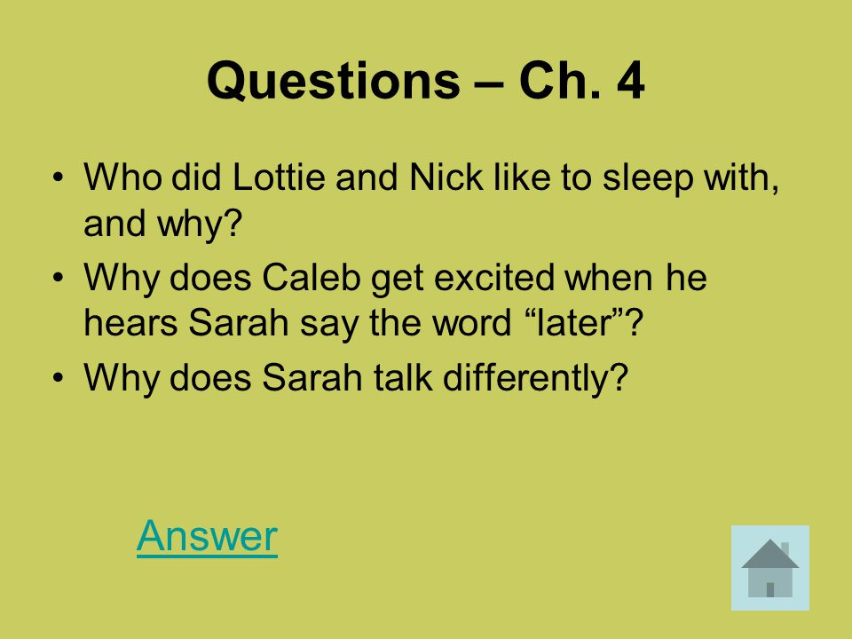 """Questions – Ch. 4 Who did Lottie and Nick like to sleep with, and why? Why does Caleb get excited when he hears Sarah say the word """"later""""? Why does S"""