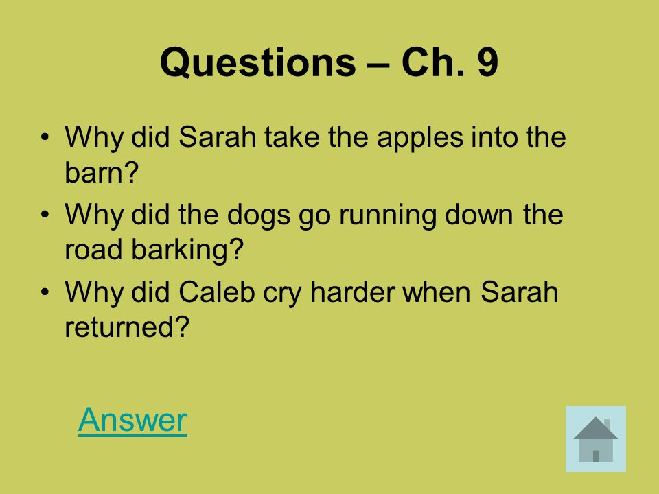 Questions – Ch. 9 Why did Sarah take the apples into the barn? Why did the dogs go running down the road barking? Why did Caleb cry harder when Sarah
