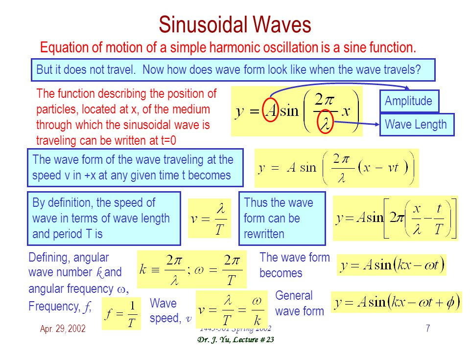 Apr. 29, 20021443-501 Spring 2002 Dr. J. Yu, Lecture #23 7 Sinusoidal Waves Equation of motion of a simple harmonic oscillation is a sine function. Bu