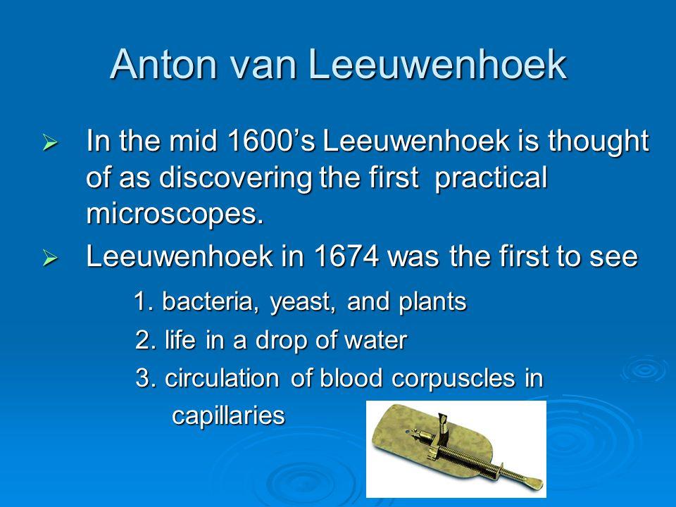 Anton van Leeuwenhoek  In the mid 1600's Leeuwenhoek is thought of as discovering the first practical microscopes.
