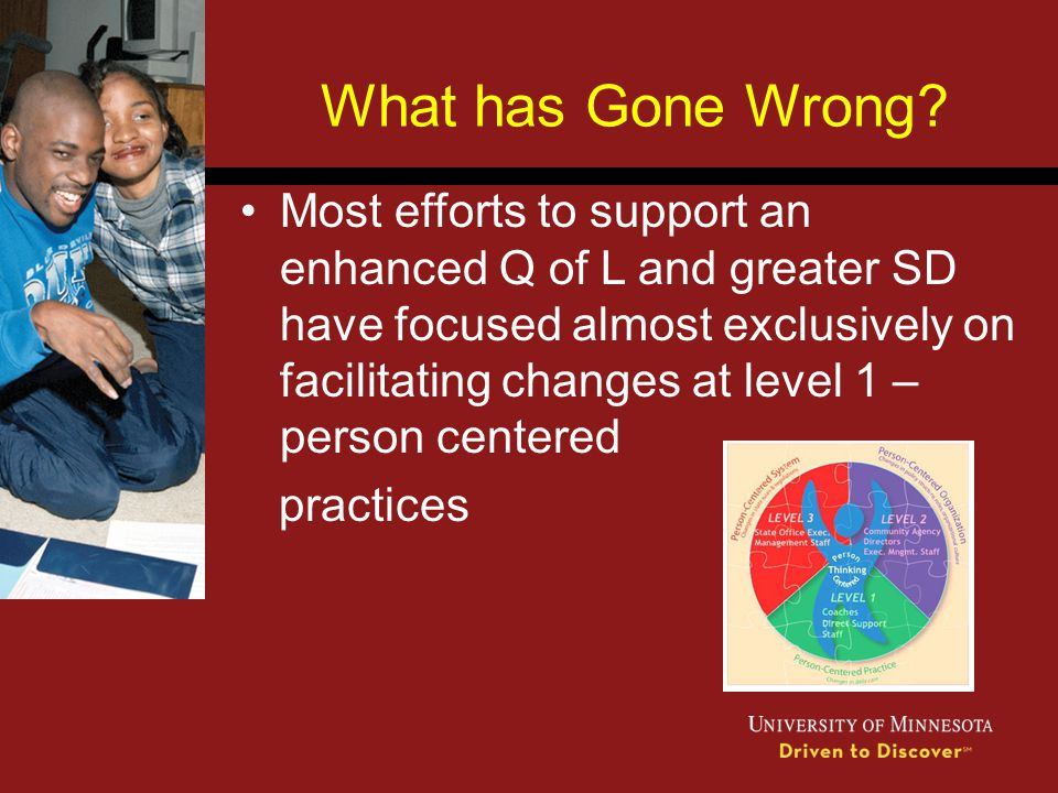What has Gone Wrong? Most efforts to support an enhanced Q of L and greater SD have focused almost exclusively on facilitating changes at level 1 – pe