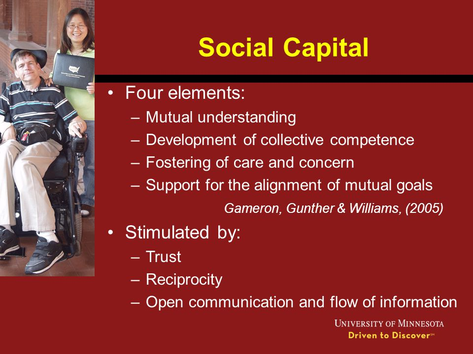 Social Capital Four elements: –Mutual understanding –Development of collective competence –Fostering of care and concern –Support for the alignment of