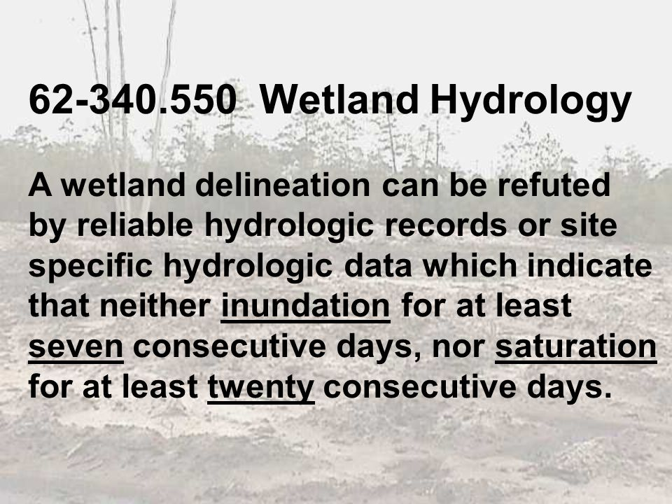 62-340.550 Wetland Hydrology A wetland delineation can be refuted by reliable hydrologic records or site specific hydrologic data which indicate that