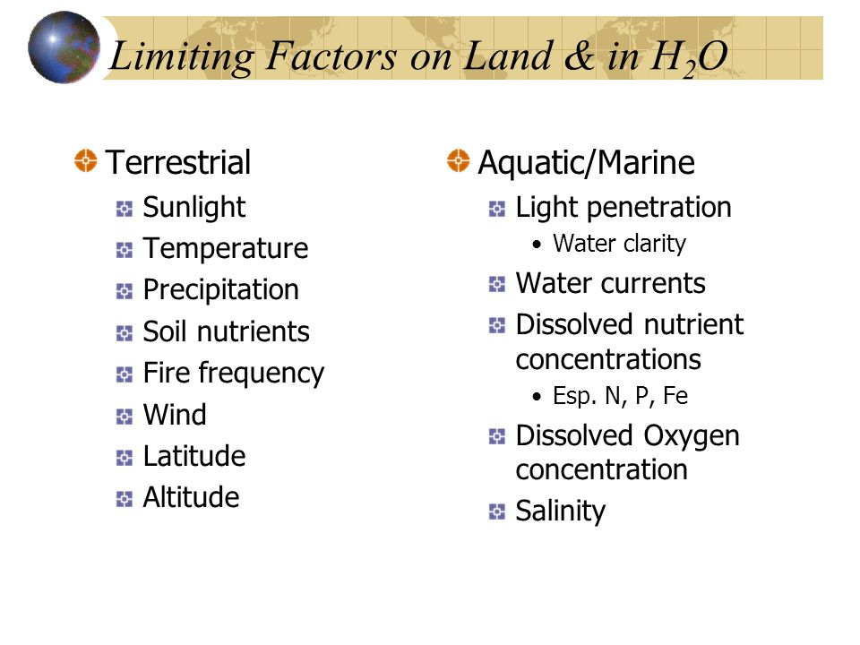 Limiting Factors on Land & in H 2 O Terrestrial Sunlight Temperature Precipitation Soil nutrients Fire frequency Wind Latitude Altitude Aquatic/Marine Light penetration Water clarity Water currents Dissolved nutrient concentrations Esp.