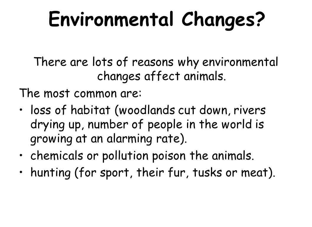 Environmental Changes? There are lots of reasons why environmental changes affect animals. The most common are: loss of habitat (woodlands cut down, r
