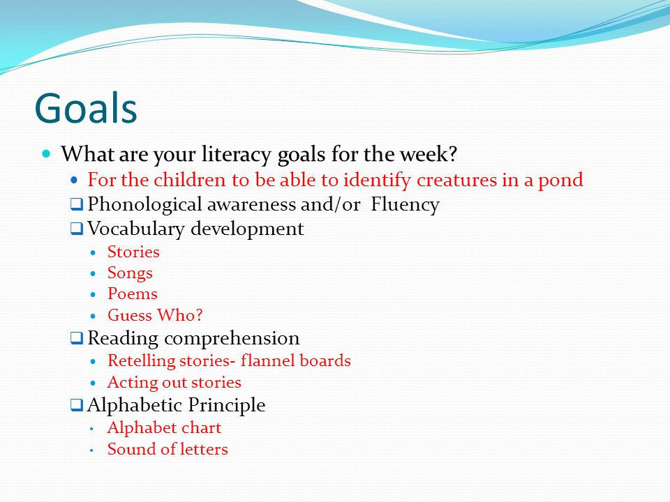 Goals What are your literacy goals for the week.