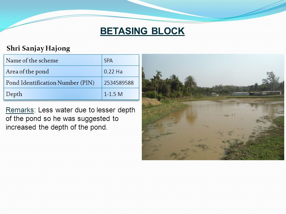 Remarks: Less water due to lesser depth of the pond so he was suggested to increased the depth of the pond. Shri Sanjay Hajong BETASING BLOCK
