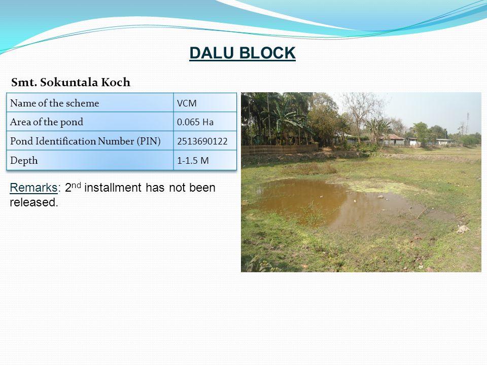 Remarks: 2 nd installment has not been released. Smt. Sokuntala Koch DALU BLOCK