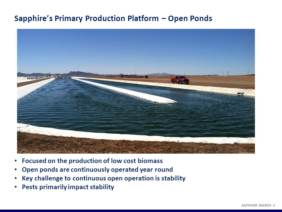 Sapphire's Primary Production Platform – Open Ponds SAPPHIRE ENERGY 2 Focused on the production of low cost biomass Open ponds are continuously operat