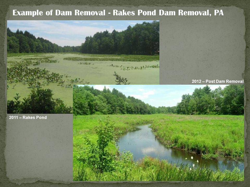 Example of Dam Removal - Rakes Pond Dam Removal, PA 2011 – Rakes Pond 2012 – Post Dam Removal