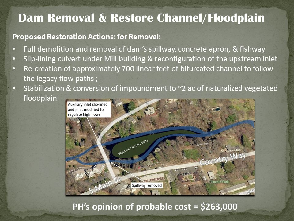 Proposed Restoration Actions: for Removal: Full demolition and removal of dam's spillway, concrete apron, & fishway Slip-lining culvert under Mill bui
