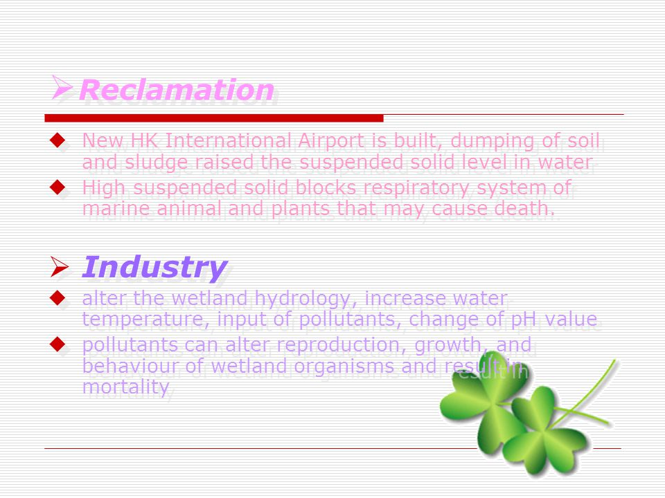  Reclamation  R Reclamation  New HK International Airport is built, dumping of soil and sludge raised the suspended solid level in water  High suspended solid blocks respiratory system of marine animal and plants that may cause death.