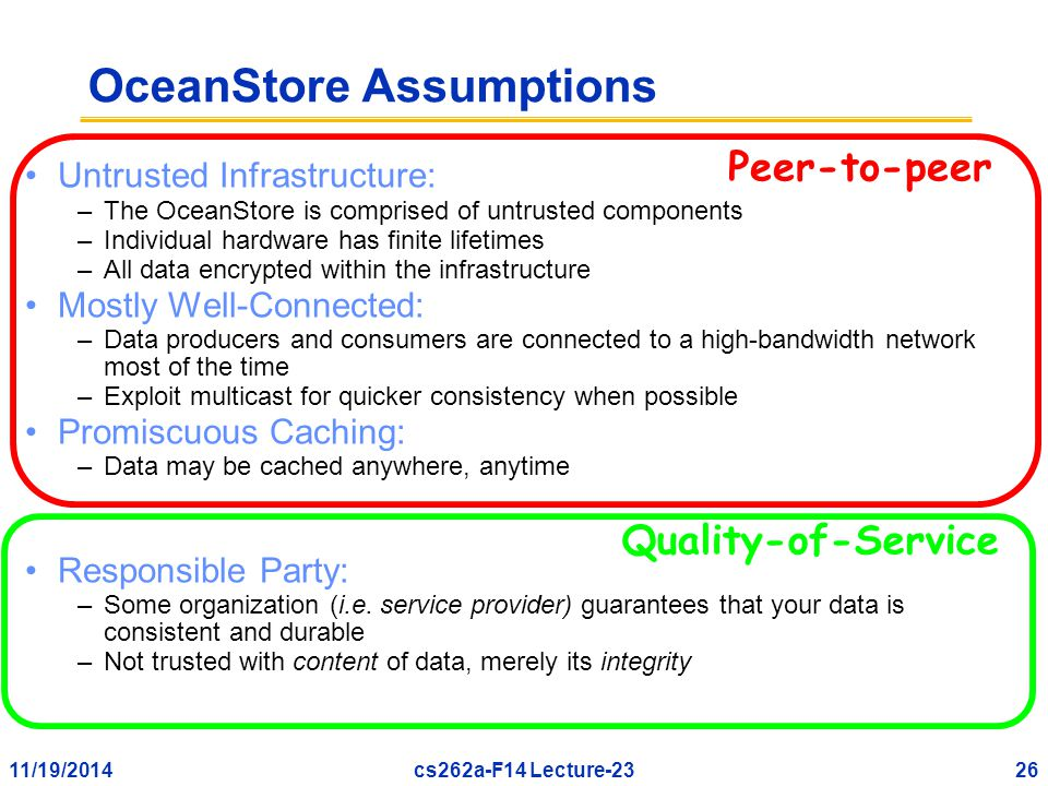 11/19/201426cs262a-F14 Lecture-23 Untrusted Infrastructure: –The OceanStore is comprised of untrusted components –Individual hardware has finite lifetimes –All data encrypted within the infrastructure Mostly Well-Connected: –Data producers and consumers are connected to a high-bandwidth network most of the time –Exploit multicast for quicker consistency when possible Promiscuous Caching: –Data may be cached anywhere, anytime Responsible Party: –Some organization (i.e.