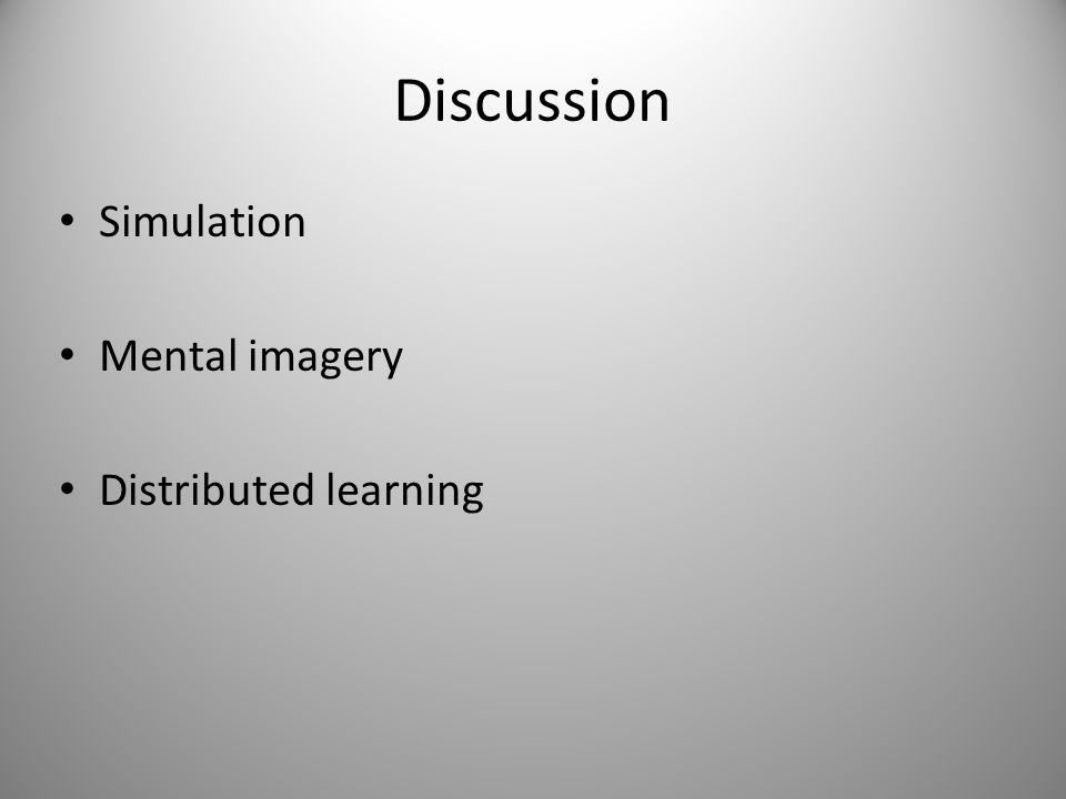 Discussion Simulation Mental imagery Distributed learning