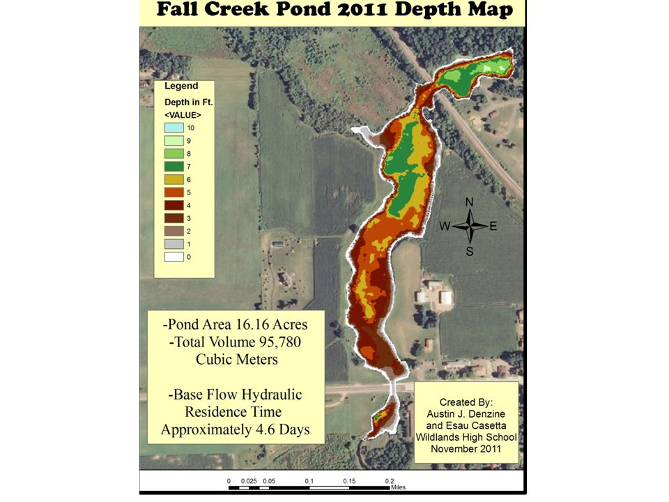 Where is the Fall Creek Pond on this scale?