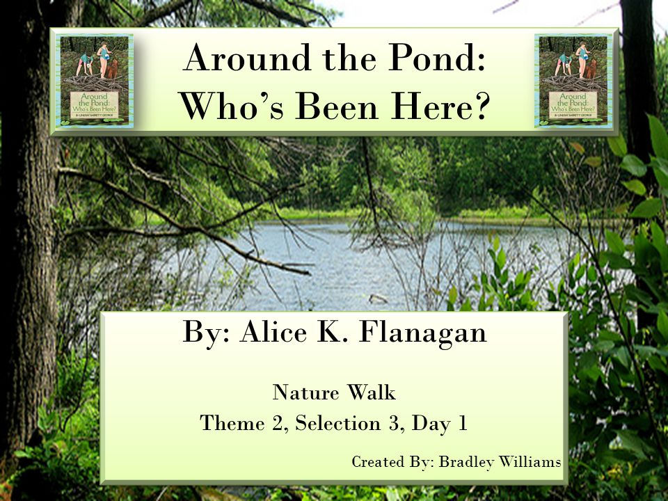 Around the Pond: Who's Been Here? By: Alice K. Flanagan Nature Walk Theme 2, Selection 3, Day 1 Created By: Bradley Williams By: Alice K. Flanagan Nat