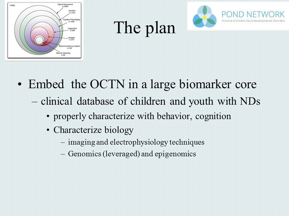 The plan Embed the OCTN in a large biomarker core –clinical database of children and youth with NDs properly characterize with behavior, cognition Characterize biology –imaging and electrophysiology techniques –Genomics (leveraged) and epigenomics