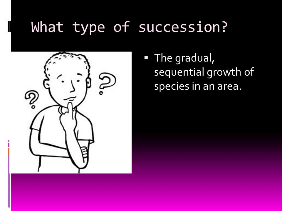What type of succession?  The gradual, sequential growth of species in an area.