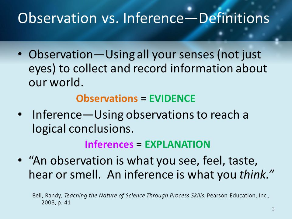 Observation vs. Inference—Definitions Observation—Using all your senses (not just eyes) to collect and record information about our world. Observation