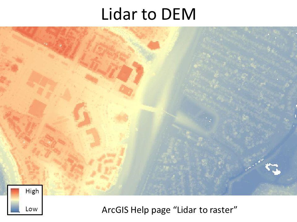 Lidar to DEM High Low ArcGIS Help page Lidar to raster