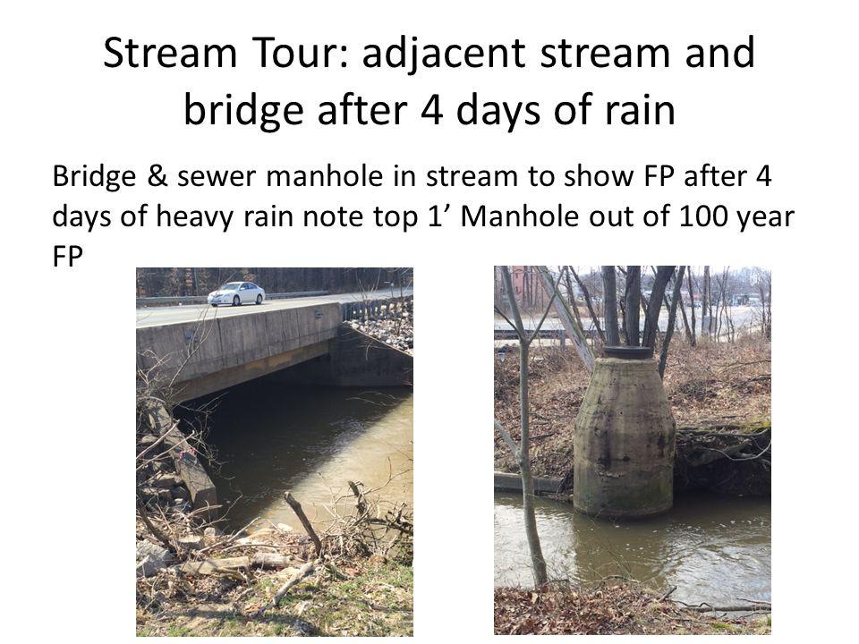 Stream Tour: adjacent stream and bridge after 4 days of rain Bridge & sewer manhole in stream to show FP after 4 days of heavy rain note top 1' Manhole out of 100 year FP