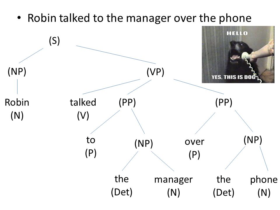 Robin talked to the manager over the phone (S) (NP) Robin (N) (VP) talked (V) (PP) to (P) (NP) the (Det) manager (N) (PP) over (P) (NP) the (Det) phon