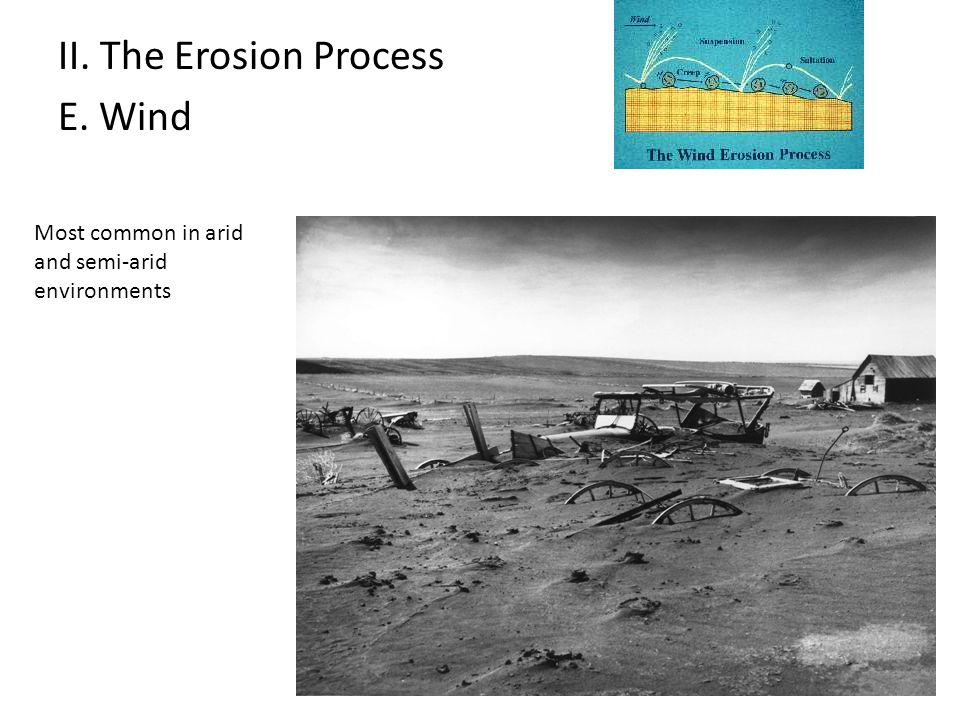 II. The Erosion Process E. Wind Most common in arid and semi-arid environments