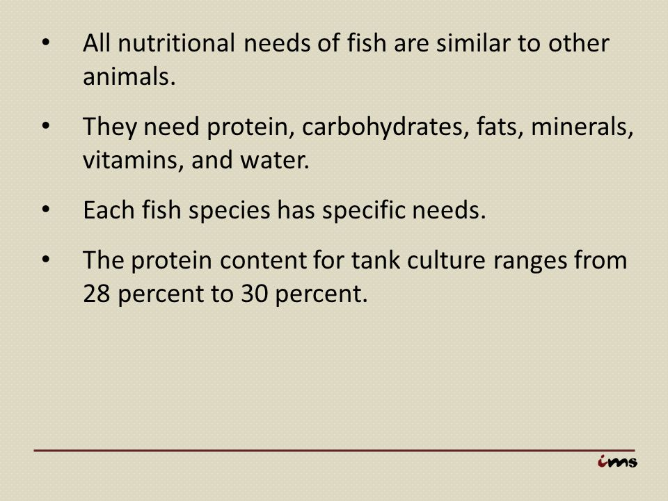 All nutritional needs of fish are similar to other animals. They need protein, carbohydrates, fats, minerals, vitamins, and water. Each fish species h