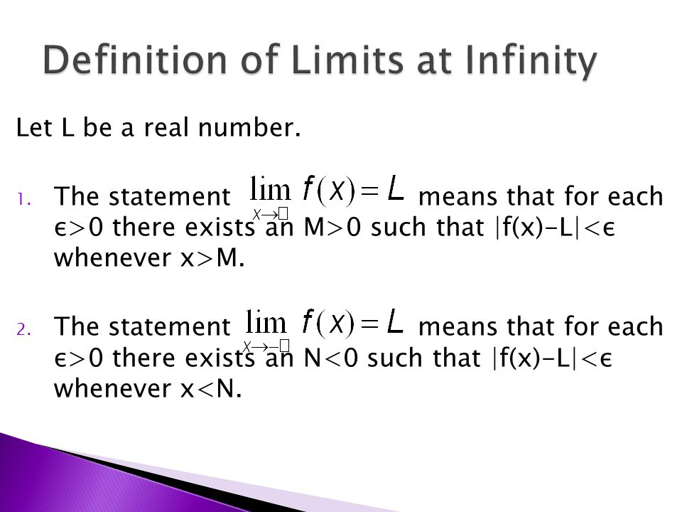 Let L be a real number. 1. The statement means that for each ε>0 there exists an M>0 such that |f(x)-L| M. 2. The statement means that for each ε>0 th