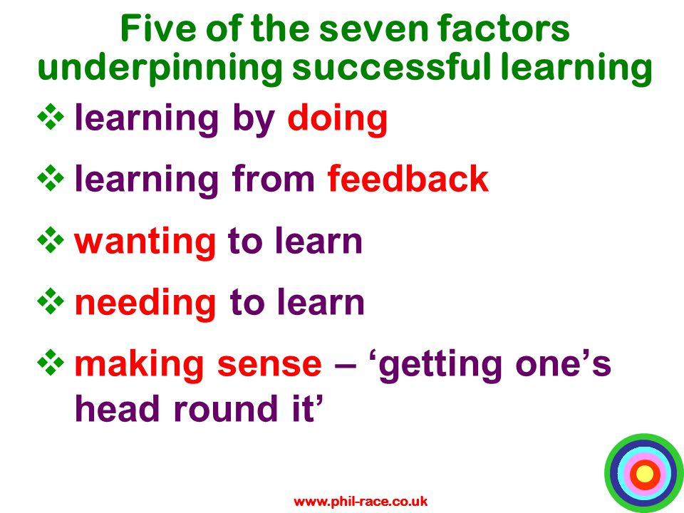 www.phil-race.co.uk Five of the seven factors underpinning successful learning  learning by doing  learning from feedback  wanting to learn  needi