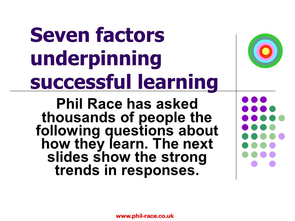 www.phil-race.co.uk Seven factors underpinning successful learning Phil Race has asked thousands of people the following questions about how they lear