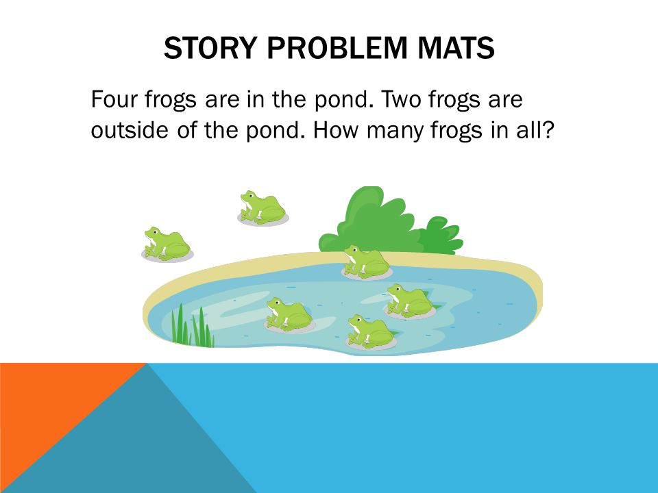 STORY PROBLEM MATS Four frogs are in the pond. Two frogs are outside of the pond.