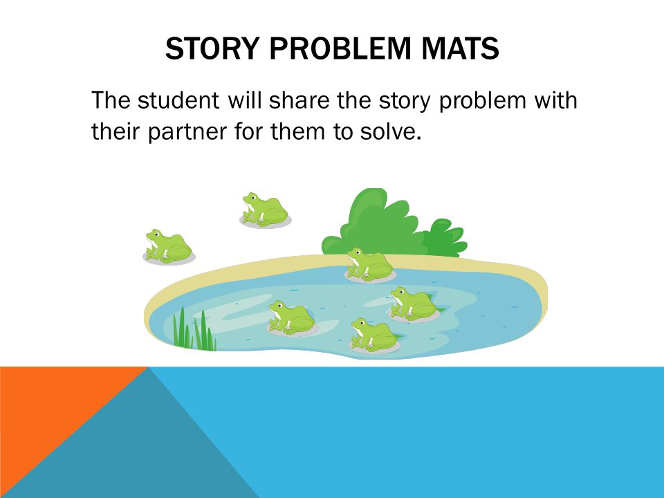 STORY PROBLEM MATS The student will share the story problem with their partner for them to solve.
