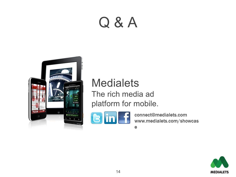 connect@medialets.com www.medialets.com/showcas e Medialets The rich media ad platform for mobile. 14 Q & A