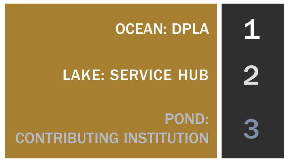 2 LAKE: SERVICE HUB POND: CONTRIBUTING INSTITUTION OCEAN: DPLA 1 3