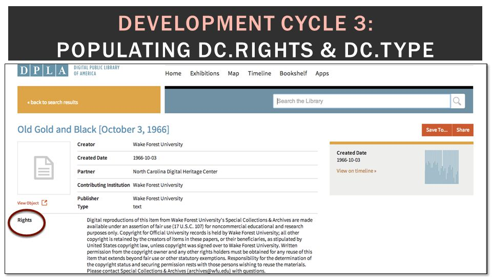 DEVELOPMENT CYCLE 3: POPULATING DC.RIGHTS & DC.TYPE