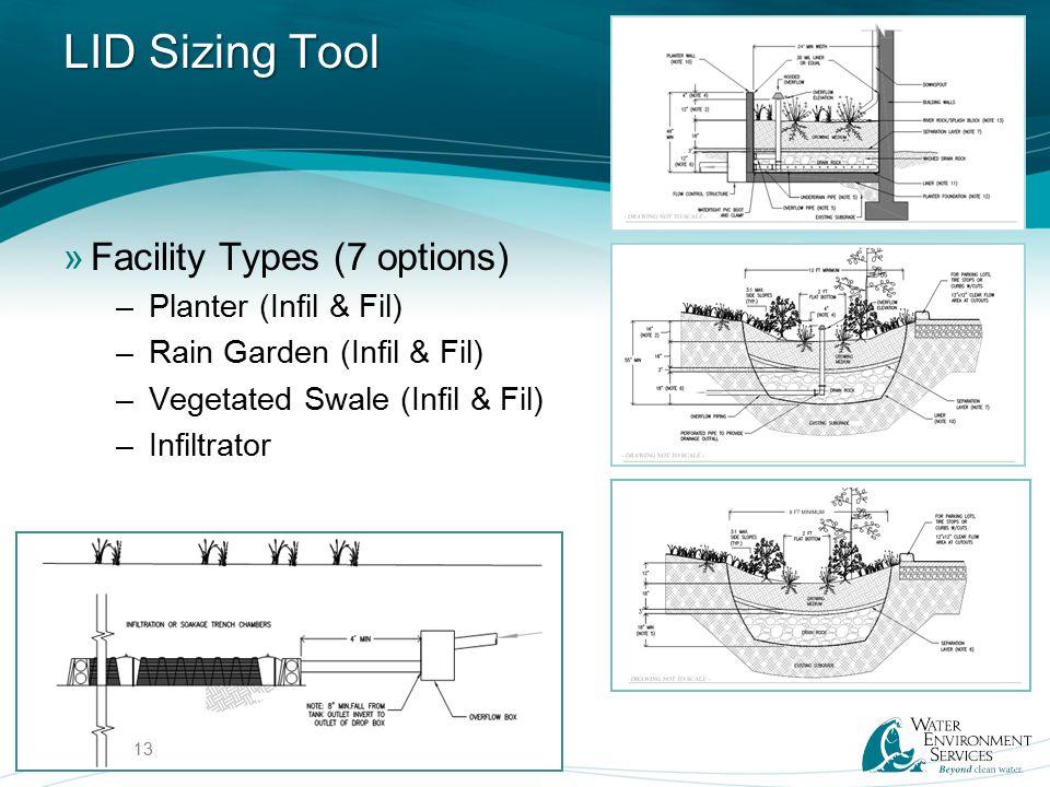 LID Sizing Tool »Facility Types (7 options) –Planter (Infil & Fil) –Rain Garden (Infil & Fil) –Vegetated Swale (Infil & Fil) –Infiltrator 13