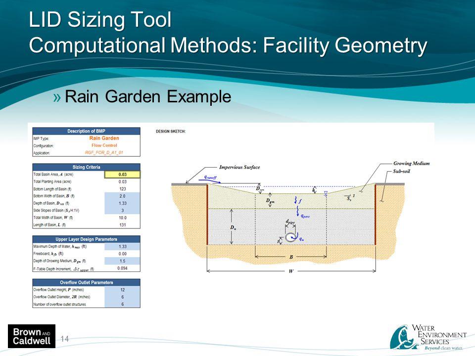 LID Sizing Tool Computational Methods: Facility Geometry »Rain Garden Example 14