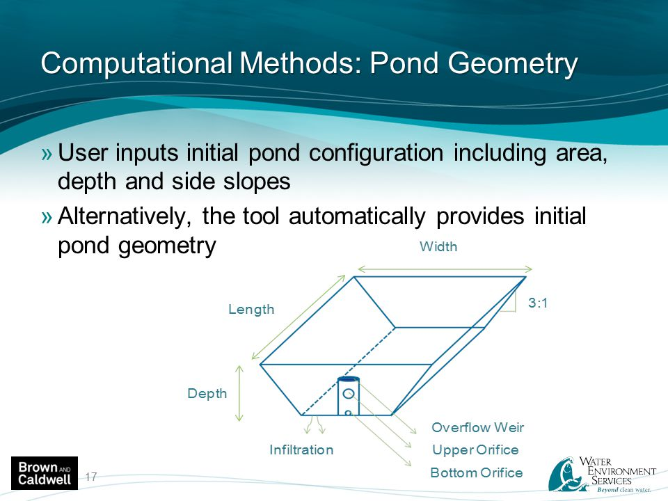 Computational Methods: Pond Geometry »User inputs initial pond configuration including area, depth and side slopes »Alternatively, the tool automatica
