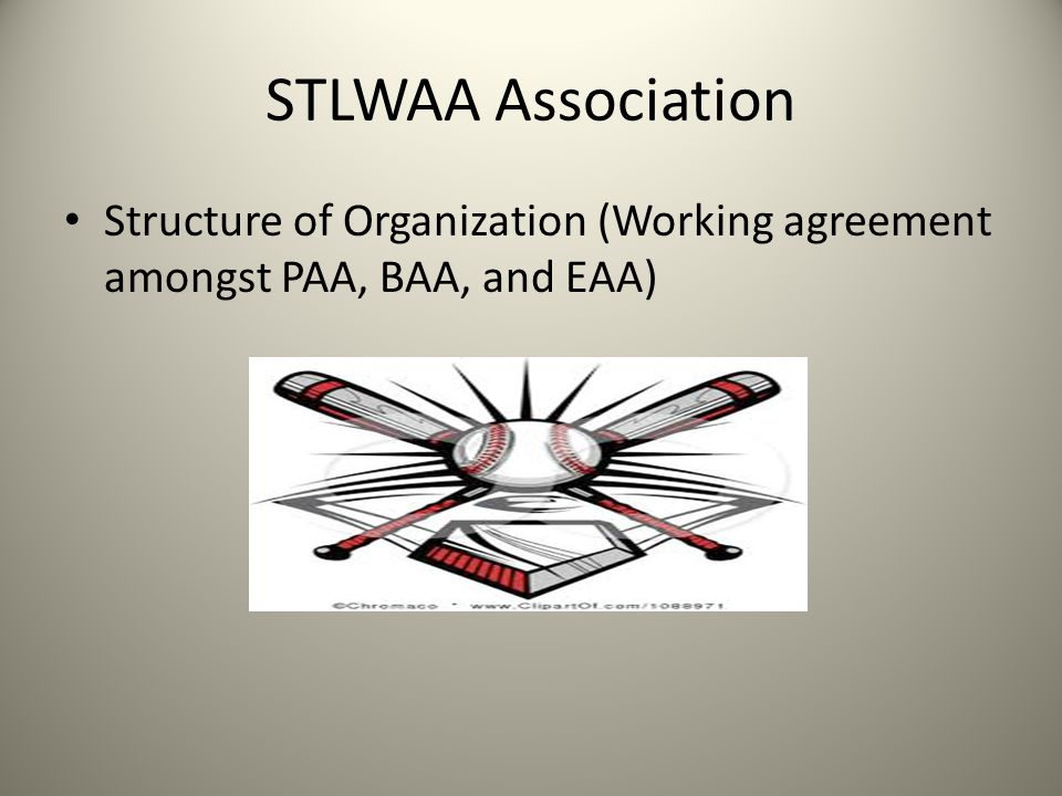 STLWAA Association Structure of Organization (Working agreement amongst PAA, BAA, and EAA)